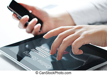 Online banking concept - Female hands work with online...