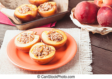 Stuffed Baked Peaches with walnuts and crunches