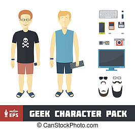 Geek Character Set - Geek Character Pack with Gadgets in...