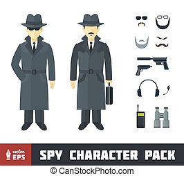 Spy Character Pack with Gadgets in Flat Style