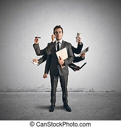 Multitasking businessman - Concept of multitasking with...