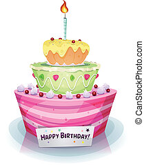Birthday Cake - Illustration of a cartoon appetizing, mouth...