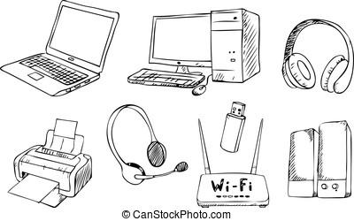 技術, 矢量, 集合, 電腦
