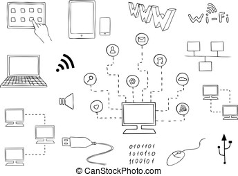 computer technologies and internet communication vector set