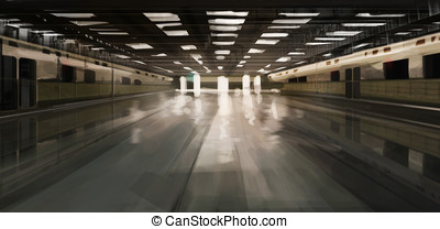 spacious desolate subway station illustration