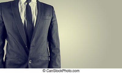 Businessman in a suit, torso view - Retro image of a...