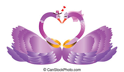 Swans in love - Two beautiful swans in love -vector...