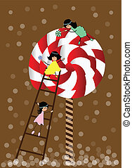 Small girl with lollipop - Funny little girl with a big...