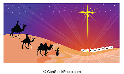 Wisemen silhouette - Three Wise men with Bethlehem in the...
