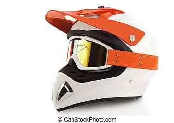 Motocross bike helmet - Orange motorcycle glasses and helmet...