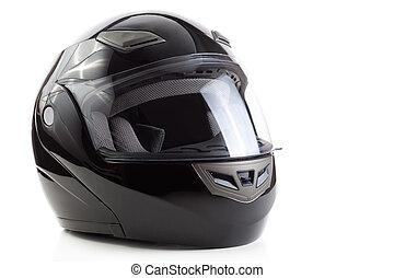 negro, brillante, motocicleta, casco