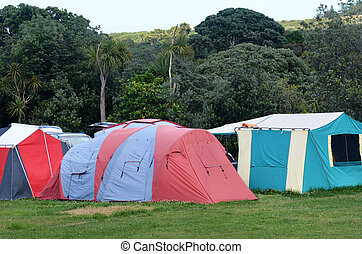 Campsite - Colorful tents in campsite during summer...