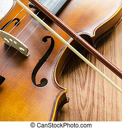"violin on wood background - string instrument ""violin"" on..."