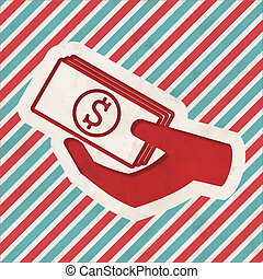 Donate Concept on Retro Striped Background - Icon of Money...
