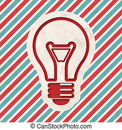 Light Bulb Icon on Striped Background. - Light Bulb Icon on...