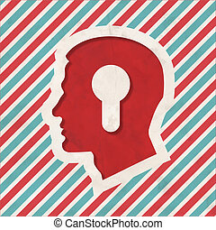 Psychological Concept on Retro Striped Background. - Profile...