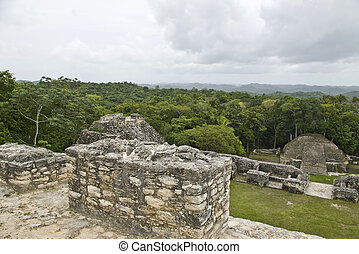 On top of Mayan Ruins at Caracol - View from the top of a...