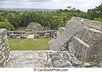 Stairs at Caracol - View from the top of a Mayan structure...