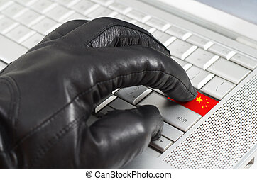 Hacking China concept with hand wearing black leather glove...