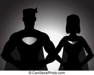 Couple Hero Silhouette - A vector couple hero silhouette...