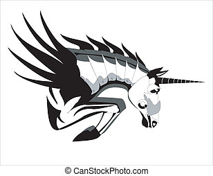 jumping steel horse with horn - artwork, suitable for...