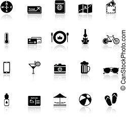 Journey icons with reflect on white background, stock vector