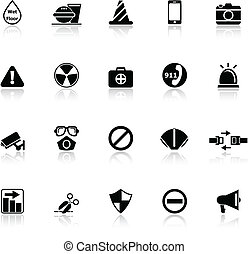 General useful icons with reflect on white background