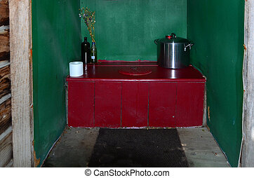 Composting toilet  - An outdoor composting toilet interior.
