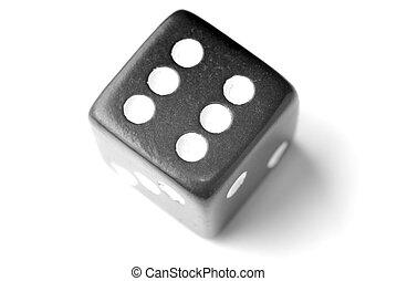 Black Die 6 - Six at top - Black Die on White - Six at top....