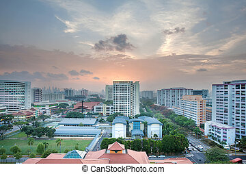 Singapore Housing Estate with Community Center at Sunset