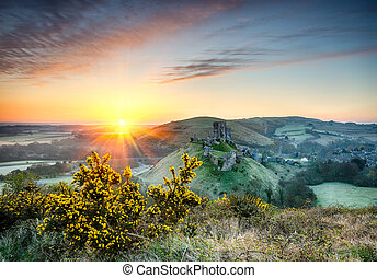 Castle Sunrise - Sunrise overlooking the ruins of Corfe...