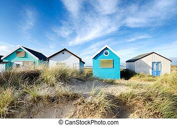 Beach Huts on Mudeford Spit near Christchurch in Dorset