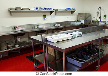 Professional kitchen - Work surface and kitchen equipment in...