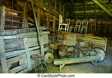 Old barn interior - An old barn interior with vintage farm...