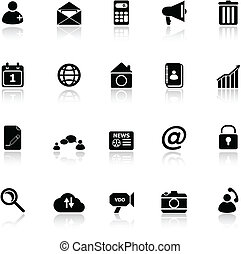 Mobile phone icons with reflect on white background
