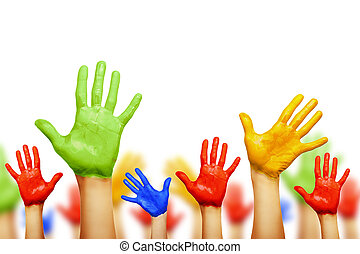 Colourful hands isolated on white