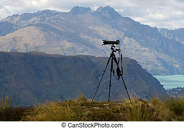 Professional camera with telephoto lens