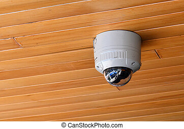 Surveillance camera on the ceiling.