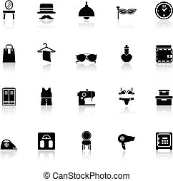 Dressing room icons with reflect on white background, stock...