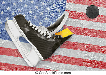Puck, skates and American flag - Puck, skates and the image...