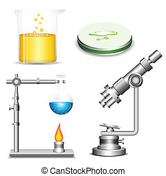 Chemistry - Set of laboratory equipment Each group of...