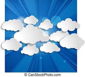 Abstract speech bubbles in the shape of clouds with rays on...