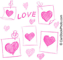 set of Valentines Day notes with scribbled hearts