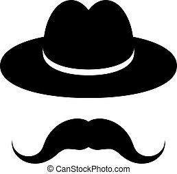 black hat with mustache isolated on