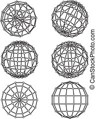 wire-frame elements in the form of sphere