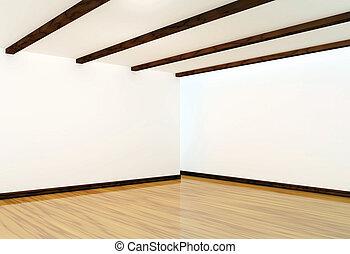 empty interior with wooden floor