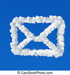 Clouds in shape of mail icon on a blue background