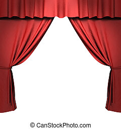 3d red stage curtain with spotlights