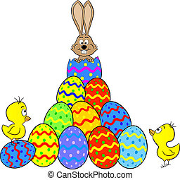 easter bunny hatching from an egg - vector illustration of a...