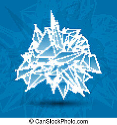 abstract white modern triangular shape on a blue background